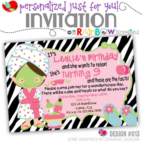 013: DIY Zebra Print Spa 2 Party Invitation Or Thank You
