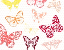 """Colorful Butterflies Clip Art """"BUTTERFLY CLIPART"""" Digital ClipArt. Scrapbook Butterflies. Pink Butterflies.Baby Girl Shower. EPS Vector File"""