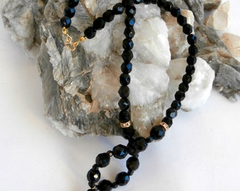 Black Bead Necklace - Repurposed Vintage - Faceted Glass Beads