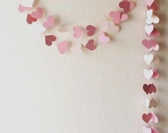 Pink Paper Heart Garland , Pink Weddig garland, Pink baby shower decor, nursery decor, Girl Birthday Party, dusty rose garland
