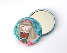 Girl pocket mirror. Watercolor doll art mirror. Whimsical girl with roses painting mirror. Cute girl mirror. Gift for her. Whimsical gift.
