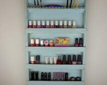 Nail polish rack display - Makeup organizer storage - pencil holder - wall hanging - Aqua blue wood distressed - bathroom storage -