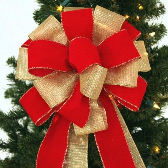 Red Gold Velvet Christmas Bow Bow Tree Topper Tree Topper