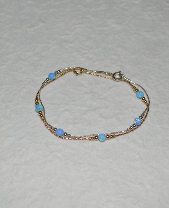 Elegant Blue Opal bracelet, Opal Jewelry, opal bead bracelet, opal gold bracelet, simple tiny dot/ball bracelet