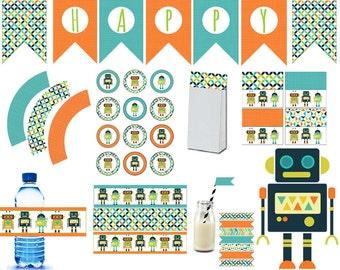 Robot Party Printable,Robot Printable, Robot Decoration,water bottle, label,wrapper, instant download