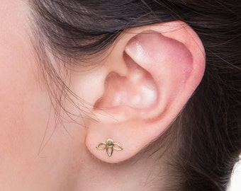 SALE 15% OFF Bridal Stud Earrings - Solid 14k Gold Posts  - Flower Earrings - Gold Flower Earrings - Solid Gold Wedding Studs - Modern Brida