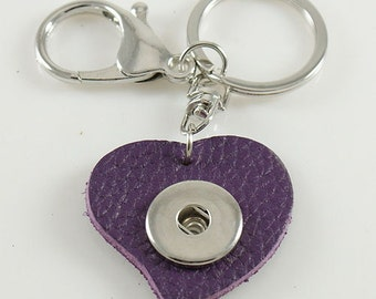 Full Grain Purple Leather Double Clip Heart Keychain for Snap-It/Ginger Charms ~ One clip for your keys and one clip for your phone!