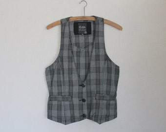 Women's Vest Gray Plaid Women Vest Formal Fitted Grey Waistcoat Steampunk Romantic Victorian  Classic  Cotton Medium Size