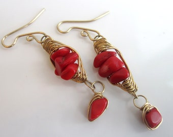 Red Coral Earrings in Red Brass