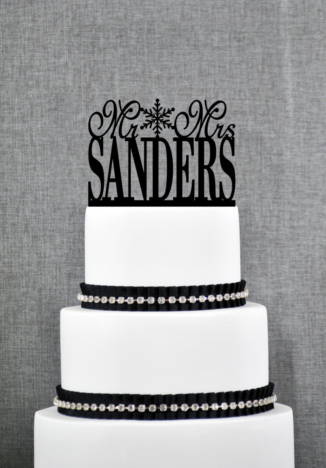 Snowflake Mr and Mrs Last Name Wedding Cake Topper, Personalized ...