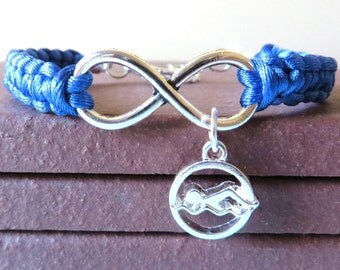 Love to Swim Athletic Charm Infinity Bracelet Swimmer Charm You Choose Your Cord Color(s)