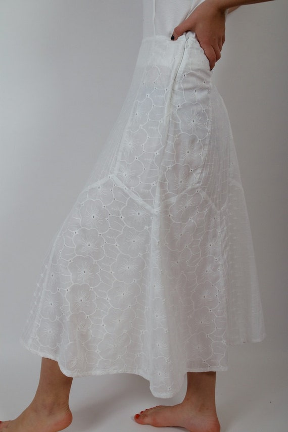 white skirts embroidered flowers maxi summer cotton skirt