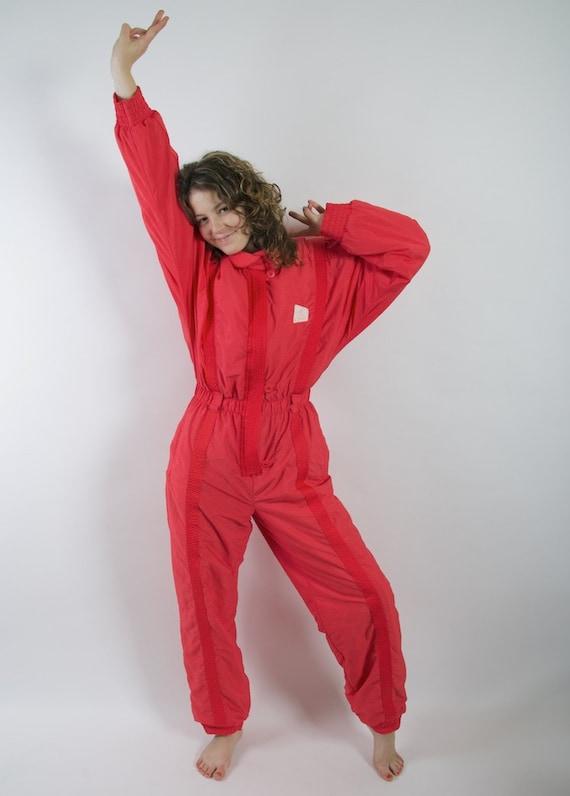 Vintage 80 S 90 S Ski Suit Red One Piece Jumpsuit