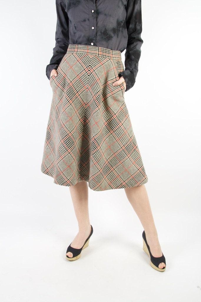 wool tartan plaid midi skirt grey black orange checkered skirt
