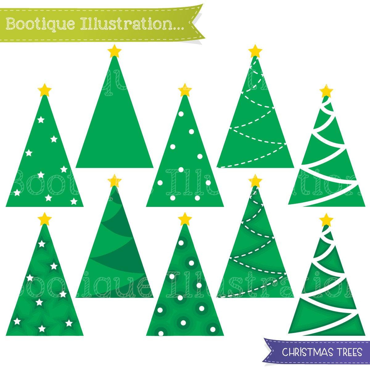 Simple Christmas Tree Clipart Christmas Clipart Set