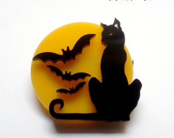 Black cat brooch with moon and bats yellow moon scary cat Halloween