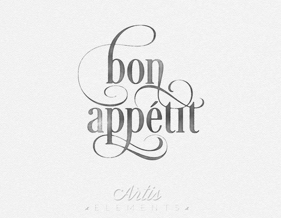 Items Similar To Bon Appetit French Calligraphy Script