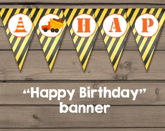 Happy Birthday banner Construction Party Construction Birthday Printable Construction Banner Truck Party Instant download PRINTABLE Digital