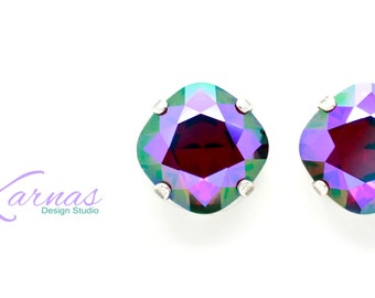 LOVE SPELL Cushion Cut Crystal Stud or Post Earrings Made With Swarovski Elements *Pick Your Finish *Karnas Design Studio *Free Shipping*