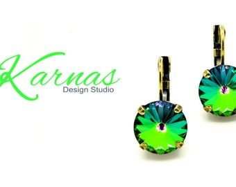 CRYSTAL ELECTRA 12mm Crystal Rivoli Drop Earrings Made With Swarovski Elements *Pick Your Finish *Karnas Design Studio *Free Shipping*