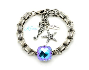 BLUE LAGOON 16mm Classical Bracelet Made With Swarovski Crystal *Antique Silver *Karnas Design Studio *Free Shipping*