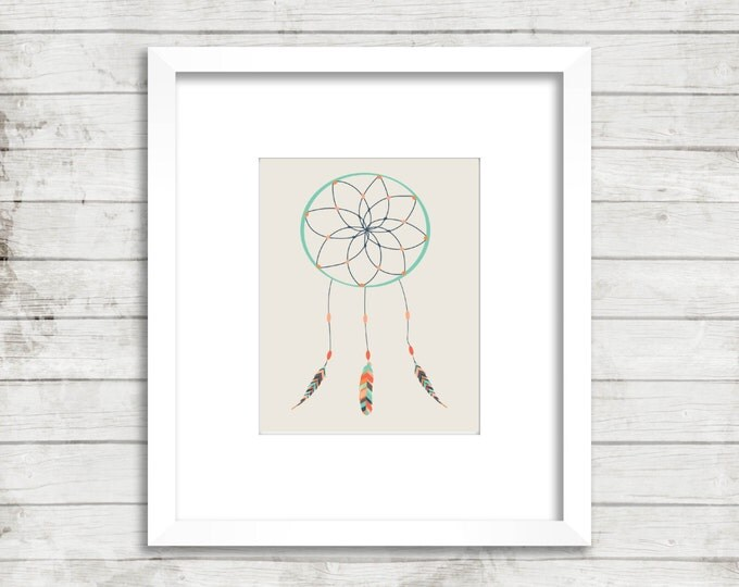 Dream Catcher- Printable Nursery Art for 8x10 Print- Tribal- #082