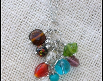 Boho Bead Cluster Necklace #1