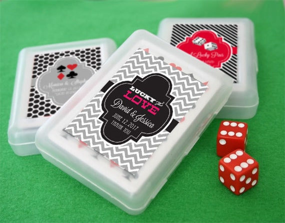 Custom Playing Cards Box Lucky In Love Wedding Bridal Shower