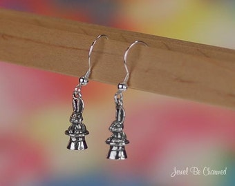 Magic Act Rabbit Earrings Sterling Silver Bunny in Magician's Hat .925