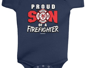 Proud Son of a Firefighter Baby Boys' Infant Bodysuit