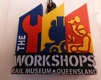 The Workshops Rail Museum Key Chain - Ipswich Queensland Australia - Original Packaging - Clean Key Fob - Pliable Rubberized Bright Colors