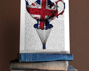 British decor Union Jack Flying Teapot print - british flag british poster british decorations kitchen print tea set tea time tea table art