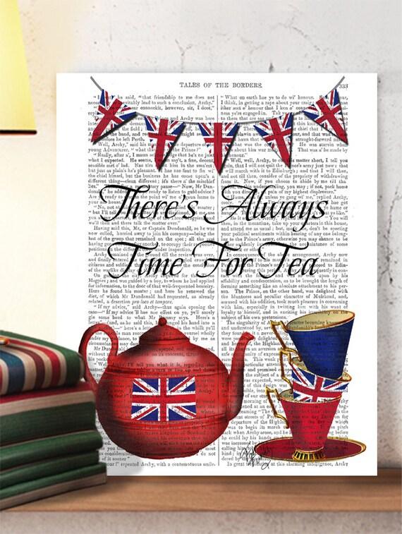 Teapot Kitchen Print Time For Tea Kitchen Decor Tea Print