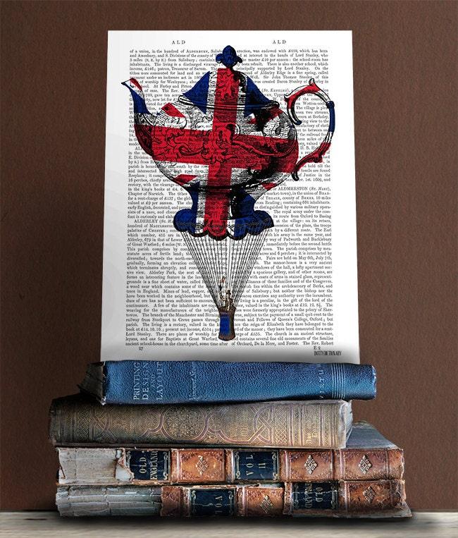 British decor union jack flying teapot print british flag for Decoration murale union jack
