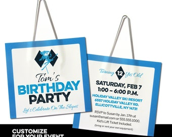 Ski Lift Ticket Birthday Party Invitation - Free Customization (Set of 12)