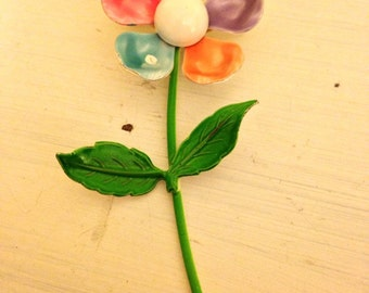 Enamel Flower Pin, Colorful, Unique,Retro, Groovy