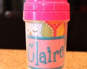 Girly Owl Sippy Cup - Personalized w/ Name or Monogram - SIPPY or STRAW Top options