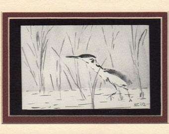 """Watercolor Original Painting """"Night Heron"""""""