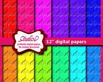 Digital background rainbow, Digital Paper Hearts, 12x12 paper Valentine Scrapbook, Valentine digital paper seamless pattern, gift wrap