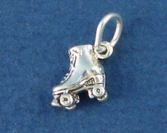 ROLLER Skate Charm, ROLLERSKATE, Skating, Miniature Small .925 Sterling Silver Charm