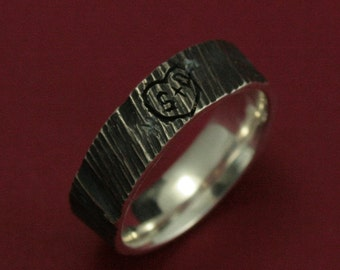 Initials Wedding Bark Ring--4 Ever Sweethearts Wide Band--Initials Carved into a Tree Band-Sterling Silver Men's Tree Bark Ring