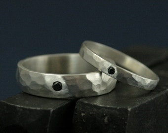 Black Diamond Bands--His and Hers Silver Wedding Rings--Wedding Band Set--Flat Set Black Diamond--Solid Sterling Silver Hammered Bands