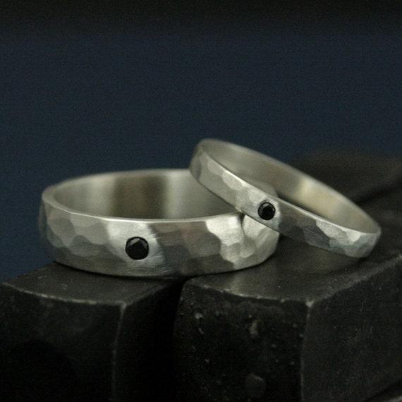 Black Diamond BandsHis and Hers Silver Wedding