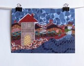 """Illustred Christmas postcard. Winter landscape with children on sled, snowman and houses.Pattern drawing. Folk Art 5.82"""" x 4.13"""""""