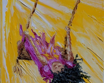 "Original Painting Black Child Swinging ""Into the Light (no.2)"" 10"" x 8"" (25cm x 20cm)  Canvas Fine Art Palette Knife Painting"