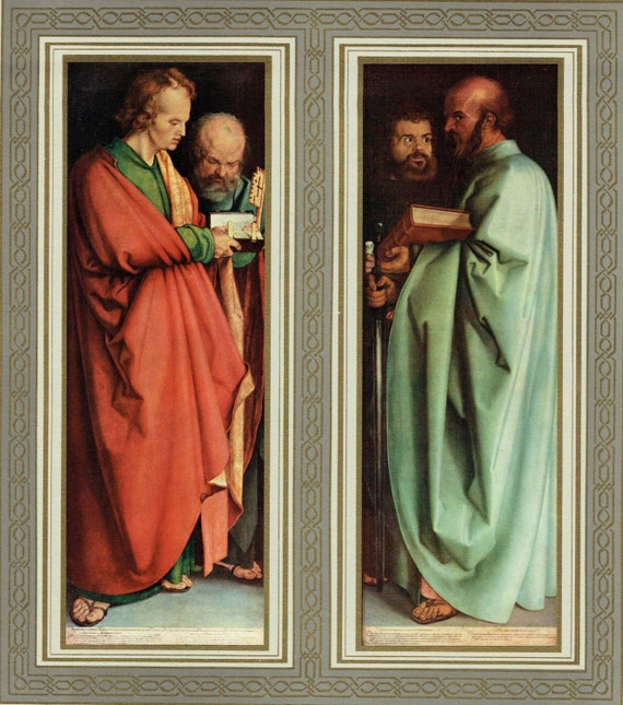 """2 Christian prints of Tempera and oil panel paintings by Durer in 16th century, """"Four Apostles"""", decorative gilt and grey borders, 1950s"""