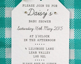 Baby Shower Invitation - Pretty, Simple, Tag Style, Ribbon Bow