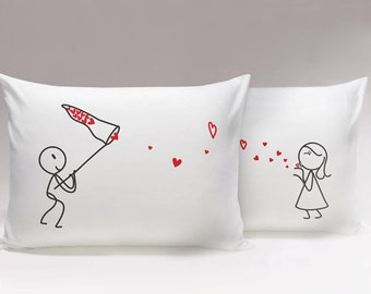 Catch My Love™ His & Hers Pillowcases,Matching Couple Pillowcases,Husband Gift,Valentines Gift for Him,Cute Boyfriend Gifts,Couples Gift Set