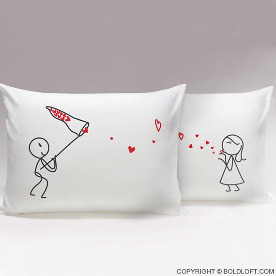 Cute Pillow For Boyfriend : Catch My Love His & Hers PillowcasesMatching Couple by BOLDLOFT