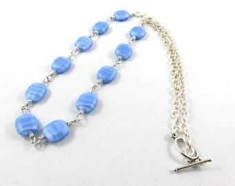 Blue Glass Necklace. Bevelled Squares of Blue Glass.  JemstoneZ Necklace.